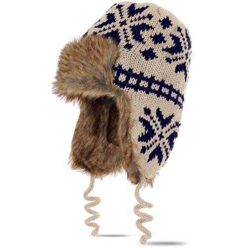CASPAR Damen Winter Strick Mütze/Fliegermütze / Fellmütze/Norweger Mütze -...