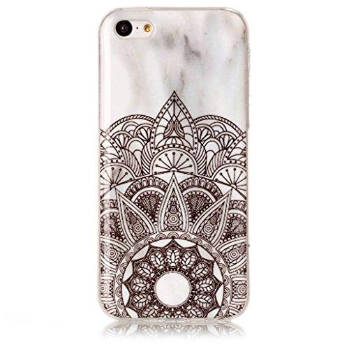 Coque pour Apple iPhone 5C , IJIA Transparent Motif Marbre Rose TPU Doux Silicone Bumper Case Cover Shell Housse Etui pour Apple iPhone 5C (MM18) YH74