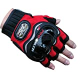 Automotive Battery Best Deals - Probiker Half Cut Gloves for Motorcycle Scooter (Red, M)