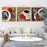 tzxdbh Drucken Kaffeetasse Vintage Poster Cafe Bars Küche Dekor Poster Wandbilder für Küche Café Wanddekor Malerei Canva-in von 60x60 cm Kein Rahmen 3 Stücke (Mit Rahmen)