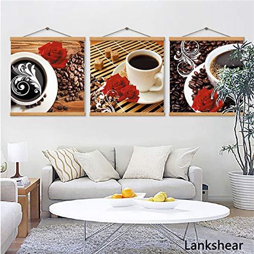 tzxdbh Drucken Kaffeetasse Vintage Poster Cafe Bars Küche Dekor Poster Wandbilder für Küche Café Wanddekor Malerei Canva-in von 40x40 cm Kein Rahmen 3 Stücke (Mit Rahmen)