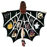 OverDose Damen Frauen Männer Halloween Print Fledermaus Schal Weichgewebe Schmetterlingsflügel Schal Fee Damen Nymphe Pixie Halloween Cosplay Kostüm Zubehör(Schwarz,130 * 168CM)