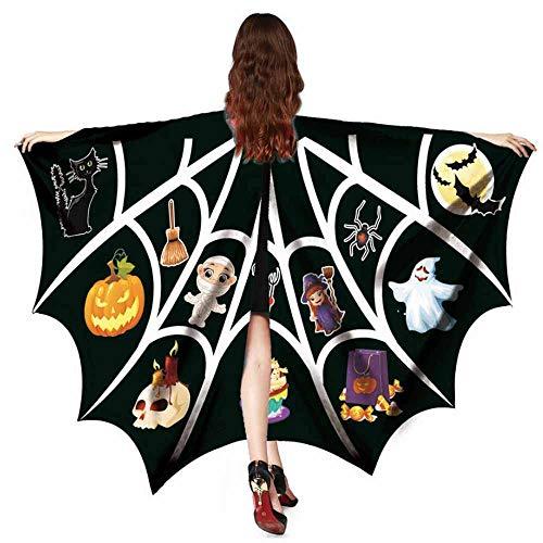 SEWORLD Halloween Kostüm Damen Herbst Punk Halloween Fledermaus Schal Kostümzubehör Tops Bedrucktes Oberteil Freizeithemd Kleidung Dünner Pullover(Schwarz,One - Punk Star Kostüm