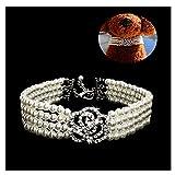 GOOTRADES 3-reihige Perlen Hunde Halsband Kristallblume Formen Elegant Haustierkette Mit Einstellbar Schmuckverschluss(Small)