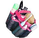 Favson Netz-Duschkorb mit 8 Ablagefächern für Shampoo, Conditioner, Seife und anderes Badezimmer-Zubehör, schnell trocknende Duschtasche, Oxford-Hänge-Toiletten- und Badewannen-Organizer, Pink