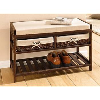 sitzbank aus holz braun mit 2 schubladen schuhablage neu schuhregal schuhbank. Black Bedroom Furniture Sets. Home Design Ideas