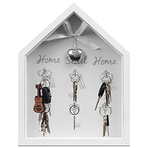Home Sweet Home Plaque à clés avec 6crochets Blanc 25x 32,5x 4cm Armoire murale Clés Armoire Boîte à clés