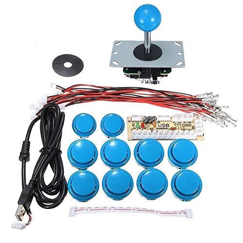 Arcade Joystick DIY Kit Teile Zero Delay USB Controller PC zu Arcade Joystick Mit Druckknöpfen & Kabelbaum für Arcade Game - Blau -