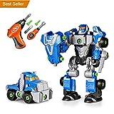 Happkid Montage Spielzeug Transformation Roboter für Kinder 3-in-1 Take Aparts Bauspielzeug BAU Roboter Konstruktionsspielzeug mit Bohrmaschine (42 Teile)