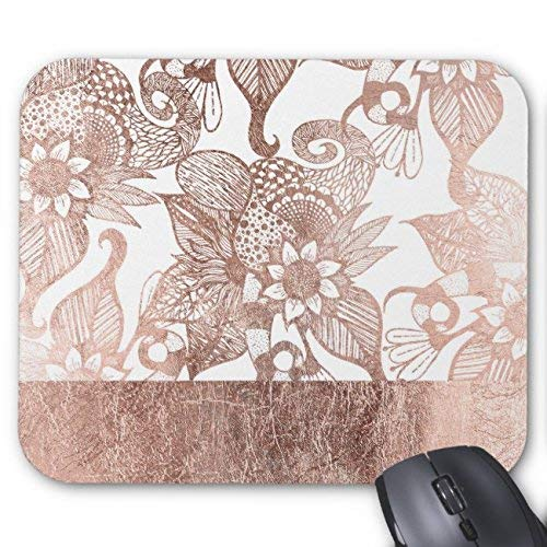 Vintage Faux Rose Gold Rustic Floral Drawings Mouse Pad Rectangle Non-Slip Rubber Personalized Mousepad Gaming Mouse Pads