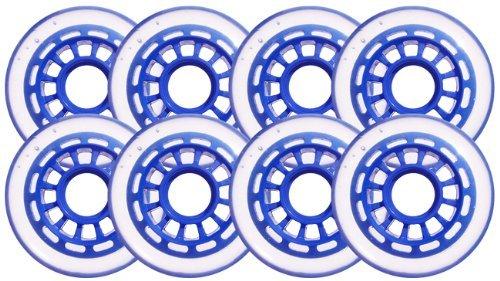 Clear / Blue Inline Skate Wheels 76mm 78a by Blank