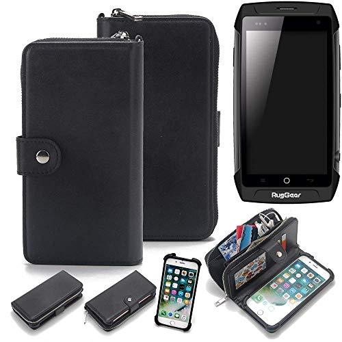 K-S-Trade 2in1 Handyhülle für Ruggear RG730 Schutzhülle & Portemonnee Schutzhülle Tasche Handytasche Case Etui Geldbörse Wallet Bookstyle Hülle schwarz (1x)