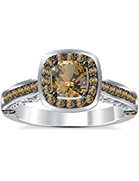 Silvernshine 2Ct Asscher Cut Citrine CZ Dimoands 14K White Gold Plated Engagement & Wedding Ring
