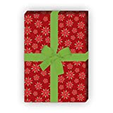 klein gemustertes Weihnachtspapier/Geschenkpapier zu Weihnachten mit Weihnachtsstern Blume, rot, für tolle Geschenk Verpackung und Überraschungen (4 Bogen, 32 x 48cm)