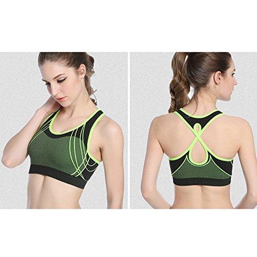 Demarkt Femme Brassière Soutien-gorge Collant Sport Athletic Fitness Yoga Jogging green