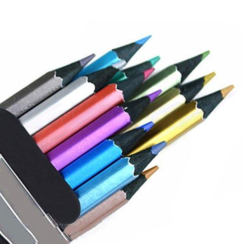 Sonnenlicht House 12Farben Metallic Bleistifte vorgeschärfte farbigen Bleistifte ungiftig schwarz Holz farbige Bleistifte Set für Kinder Erwachsene Kunst-Zeichnen, färben, skizzieren multi