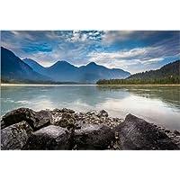 Stampa su legno 30 x 20 cm: Fraser River di Andreas Kossmann