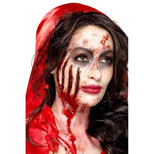 NET TOYS Latex-Make-up Kratzwunde bestehend aus Applikation & Kleber | Rot | Gruselige Party-Schminke Zombie Wunden & Narben | Ideal für Mottoparty & Gruselparty