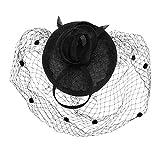 LONTG Femme Voile de Mariée Courte Vintage Chapeau de Mariage Cocktail Eglise Banquet Cérémonie Chapeau de Soirée Bal Déguisement Elégant Noir Pince à Cheveux Accessoires Coiffure Nuptial Fascinator