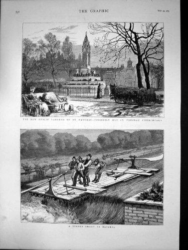 Scena del Fiume della Baviera del Tiro del Legname del Sagrato di Pancras di 1875 Giardini Pubblici - Scena Tiro