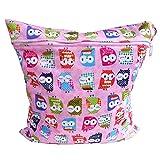 Tinksky mit Reißverschluss Baby Tuch Windel Windel Tasche nass-trocken-Tasche Tote mit weichen ausrichten Griff (Pink)
