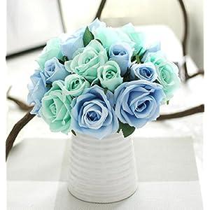 ZEZKT-Home Künstliche Blumen für Hochzeits-Bouquets, Zuhause, Hotel, Garten-Deco, Veranstaltungen, Weihnachten | Kunstblumenstrauß mit künstlichen Rosen Wohnaccessoires & Deko (Blau)