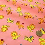 Pink Polycotton Stoff mit Baby Zoo Tiere (Pro Meter)