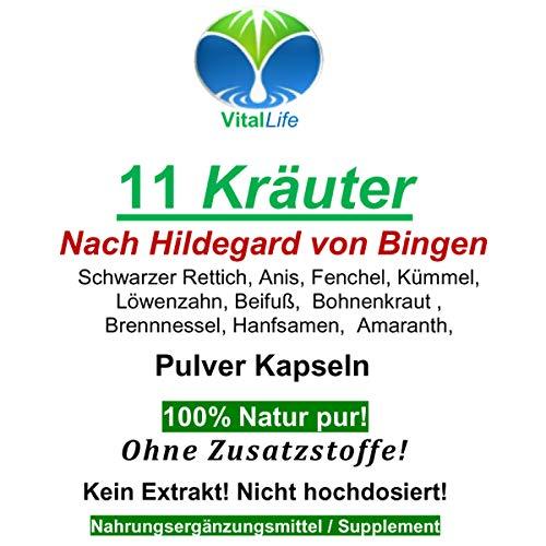 Hildegard von Bingen TOP 11 Kräuter & Bitterstoffe 120 Pulver Kapseln mit Löwenzahn, Rettich, Brennnessel, Flohsamen uvm. NATUR PUR | 26321