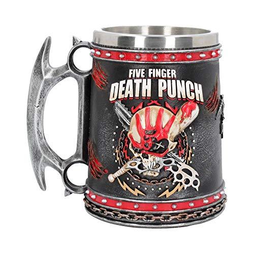 Nemesis Now Five Finger Death Punch Bierkrug, 15 cm, Harz mit Edelstahleinsatz, Schwarz -
