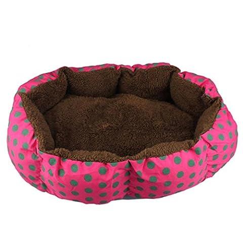 Panier Chien, Kolylong Doux Fleece Pet Dog Puppy Cat Chambre Chaud Maison En Peluche Cozy Nest Mat Pad Tapis Chien Lit Pour Chien 36cmX30cm (Rose vif)