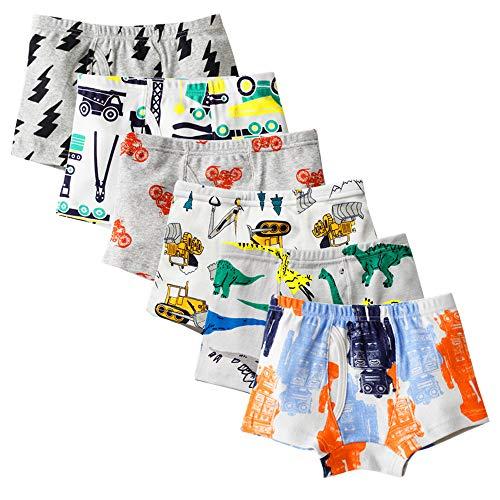 Kidear Serie Für Kinder Weiche Baumwollene Unterwäsche Sortierte Boxershorts Kleiner Jungen (Packung mit 6 Stücken) (Stil7, 2-3 Jahre)