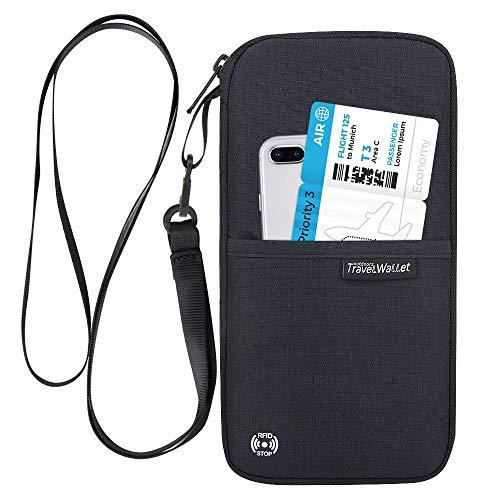 Ausweistasche mit RFID Schutz,Evershop Wasserdicht Reise Reiseorganizer Travel Reisepass Tasche Reiseunterlagen Mappe mit Handschlaufe für Pass,Kreditkarten,Flugkarten,Münzen und andere Reise Zubehör (Reise-schutz)