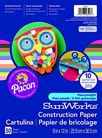 Pacon Sunworks Construction Paper 50-Count coloris assortis