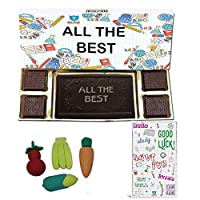BOGATCHI All The Best Chocolate Gift for Exams, Dark Chocolae Bar + 4pcs + Free Good Luck Card + Fruit Erasers