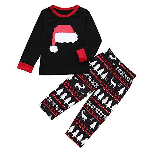 Weihnachten Bekleidungssets Patifia Familie Kleidung Kinder Papa Mama Weihnachtsmütze Langarm T-shirt Top + Drucken Hosen 2 Stücke Outfits für Kleinkind Baby Mädchen Jungen -