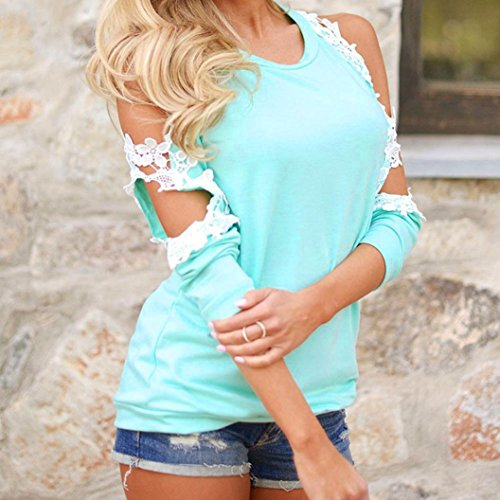 shirt Camicia Spalla Camicetta A Pizzo T In Off Donne Tops Lunghe Signore Maniche Blu Casuale Manadlian 7x5wYqn