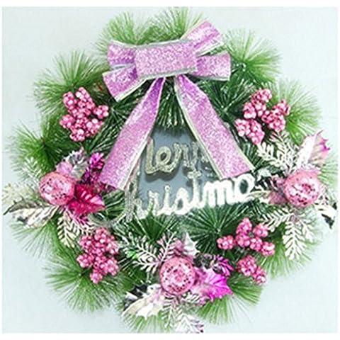 Decoración de Navidad Navidad Navidad Artificial?agujas de pino ratán adornos anillo rosa ?35cm