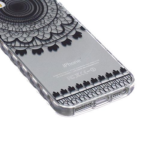 SainCat Custodia iPhone 5 / 5S / SE,Fashion Design Ultra Slim Morbido Flessibile Trasparente Soft TPU Gel Silicone Thin Painting Case Caso Cover,Clear Sottile Copertina Antiurto Protecttivo Shell Cabi Campanula Nero