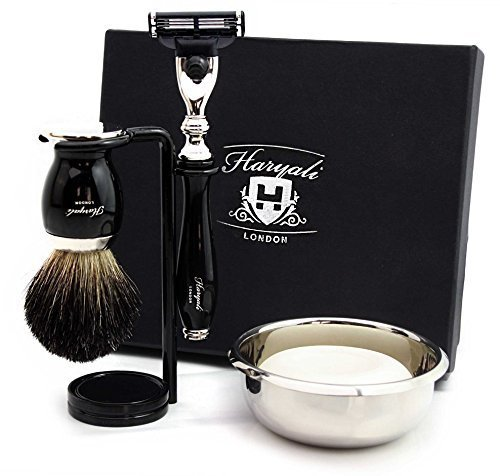 Premium Rasierset Geschenk für Männer (Gillette Mach 3 Rasierklinge, Pure Black Badger Brush, Doppelständer, Edelstahl Bowl & Rasierseife) Kommt in einer Marken-Box Perfekt als Geschenk -
