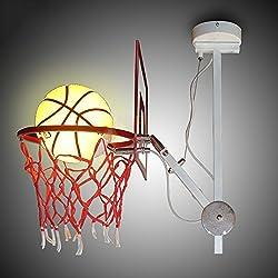 Shubiao Baloncesto Lámpara de Techo Nórdica Moderna Lámpara de Hierro Ajustable Sola Cabeza Bola Luz de Techo Baloncesto Baloncesto Lámpara de Cristal Colgante (Color : Blanco)