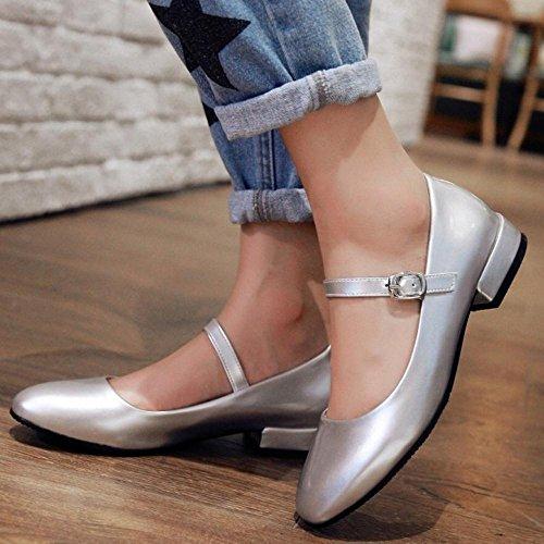 TAOFFEN Femmes Chaussures Confortable Bloc Talon Bas Escarpins De Boucle Argent