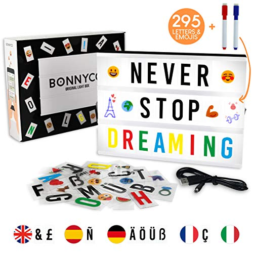 ORIGINAL CINEMATIC LIGHT BOX BY BONNYCOThis fantastic light box will give a funny touch to your day to day. You can place encouraging phrases to begin your day in an awesome mood, exchange messages with your loved ones, decorate your cosy home, bedro...