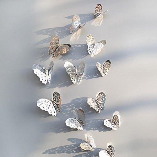 VOVO ❤️❤️Vovotrade 12 Stücke 3D Hohle Wandaufkleber Schmetterling Kühlschrank Wohnzimmer Schlafzimmer Küche für Dekoration Neue (B) (12 Stück Baumwolle Bath)