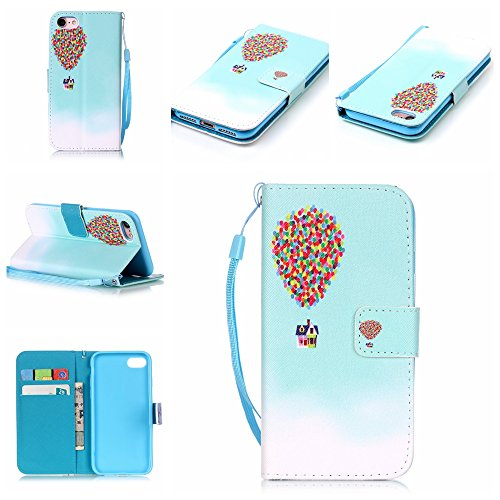 Custodia iphone 7 Plus, iphone 7 Plus Case, Cozy Hut ® Retro Colorful Drawing Art Painted Premium PU Leather Magnetic Flip Wallet Cover with Detachable Hand Lanyard & Card Slots & Stand Function for A Hot Air Balloon