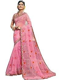 Fabura Women's Cotton Saree With Blouse Piece (F-47470, Pink, Free Size)