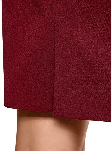 oodji Collection Damen Gerader Rock mit Hohem Bund Rot (4900N)