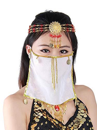 Grouptap Seidenbauchtanz sexy Gesicht Schleier Maske Kostüm Frauen Mädchen arabisch türkische Outfits mit Gold Schmuck Krawatte (Weiß)