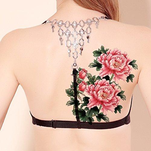 TAFLY Baum Pfingstrose rosa Blume größere Körper wieder Fake temporäre Tattoo Sticker 2 Blätter (Blatt-baum-aufkleber Bunte)