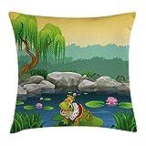 Funda de cojín decorativa de dibujos animados con diseño de rana en el lago de las hojas de...