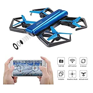 JJRC Selfie Drone with 720P HD Camera, Mini Drone FPV RC Quadcopter (Stable Hovering + Altitude Hold + 360-Degree Rotations + Headless Mode), Great Toy Present or Gift for Children Boy